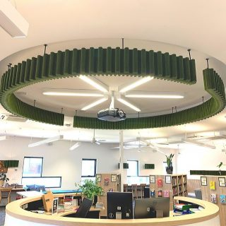 Thank you to #FirbankGrammarSchool for trusting us to improve the acoustics of your library. We loved your comment 'Not only looks great but has done exactly what we were hoping in terms of deadening the noise and echo in the space'. Pictured here is a custom piece above the librarians main desk - a dual purpose of providing good acoustics and wayfindimg.  #acustico #acusticolighting #acousticolighting #acousticlighting #acoustico #lighting #lightingdesign #designerlighting #architecturallighting #educationspace #schoollibrarydesign #quiet #librarydesign